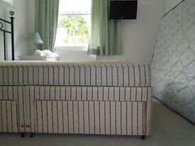 Double divan bed, mattress, four drawers
