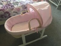 Pink Moses basket and/ or stands