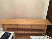 IKEA THREE DRAWER LONG CONSOLE TABLE WITH SHELVES
