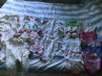 Baby girls 0-3 vests and babygrows