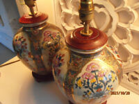 2 Chinese Style Ceramic Lamp Bases Bird & Floral. 1 fine, 1 has issues so is free