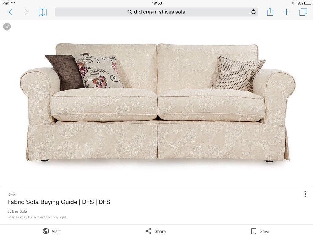 Dfs St Ives Two Cream Seater Sofa Country Living Top Range