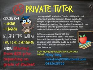 K-8 Maths & English Private Tutor $25 p/hr OC, SELECTIVE & NAPLAN Castle Hill The Hills District Preview