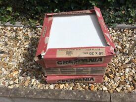 3 Boxes of White Ceramic Floor Tiles