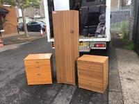 Dark wood single wardrobe £35, chest of drawers £30 each