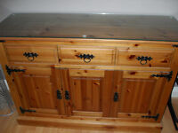 Antique Pine Sideboard, Excellent condition with Toughened Glass top, use in Dining or Bedroom.
