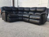Pendragon black leather corner sofa immaculate CAN DELIVER LOCAL