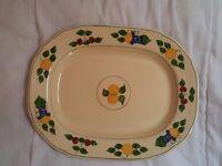 Royal Adams Titanware 1920's serving platter, ivory with fruit design