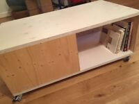 Handmade, One of a Kind, Modern Coffee table with lots of Storage space and lockable wheels