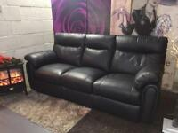 Black 3 Seater Leather Recliner Sofa