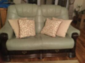 Large leather suite comprising of one Arm chair and 2x2 sofas