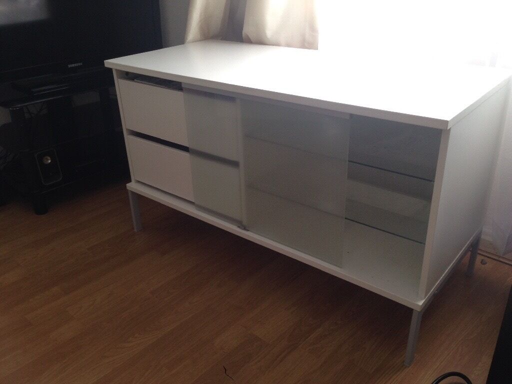 ikea white tv cabinet with sliding glass door and 2 drawers brilliant condition in. Black Bedroom Furniture Sets. Home Design Ideas