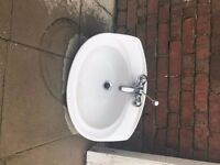 PORCELAIN BASIN SINK WITH MIXER TAP - GOOD CONDITION