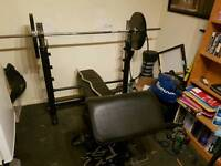 Marcey Pro weight bench and weights