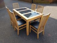 Rubberwood & Granite Table & 6 Chairs FREE DELIVERY 973