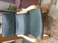 Ikea green leather Poang chair