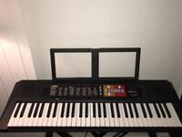 Yamaha PSRF51 Electronic Keyboard - Black with RockJam Xfinity Double-X Adjustable Keyboard Stand