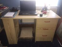Computer desk with drawers and shelving - house clearance