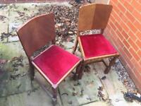 Decorative wooden dining chairs x 4