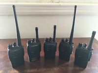 5 Motorola 2 way Security Radios, including 7 batteries, 4 belt clips & 1 single charger