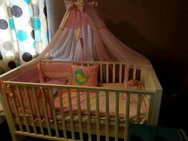 White cot bed and extras