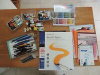 Bundle of Used Art Materials Including Paints, Brushes, Pastels, Paper, Portfolio Folder