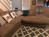Large brown cord corner sofa/sofa bed