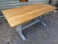 Fully Refurbished - Lovely Jaycee Oak Refectory Dining Table Painted Farrow & Ball - Osmo Polyx Oil