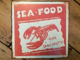 Shabby chic seafood kitchen sign!