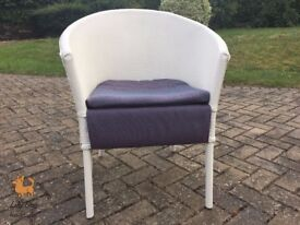 Beautiful Shabby Chic Restored White Chair with Two Toned Fabric