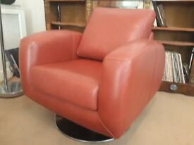 FREE DELIVERY! John Lewis red leather swivel armchair