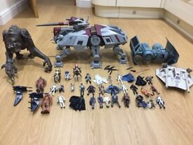 Large collection of star wars toys