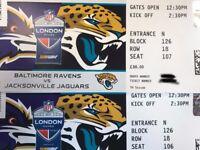 2 FACE VALUE (£88) Lower Sideline Tickets NFL Wembley 24 Sep Baltimore Ravens v Jacksonville Jaguars
