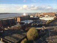 15th fl exec studio apt with river views, Beetham Tower, L3 9BE 24hr security, fitted kitchen a must