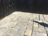 Patio Paving grey stone mixed size slabs