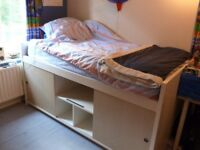 White Cabin Bed with Mattress and Storage Underneath