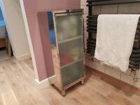 Chrome Bathroom Storage Cabinet (3 Shelf) with Smoked Glass Door