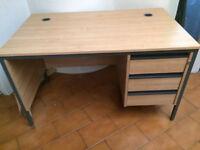 Oak straight office desks with fixed pedestals