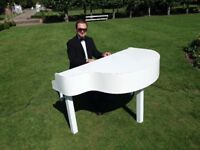 Pianist for weddings & events with White/Black Piano Shell(Top 40 charts,Bollywood,jazz,classical)