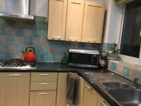 10 kitchen units, hob and extractor., sink and worktops