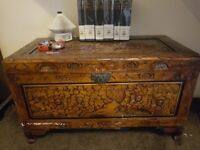 Large wooden, indian pattern-carved trunk/ottoman
