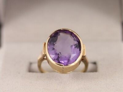 Amethyst Solitaire Ring 9ct Gold Ladies Stunning Size L 1/2 375 6g Cr89