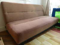 Large Click Clack Sofa Bed, in brown fabric, 3 seater, very good condition