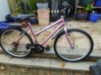 ladies pink 18 inch frame bike with lock