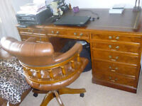 CHESTERFIELD DESK AND CAPTAINS CHAIR