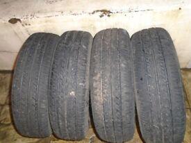 tyres 4 x 165/70/14 plenty of tread minimum 6m