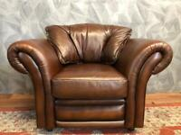 STUNNING CHESTERFIELD PENDRAGON CHESTNUT REAL ITALIAN LEATHER ARMCHAIR