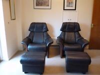 Ekornes Stressless Eldorado High Back Reclining Leather Chairs with matching Ottomans