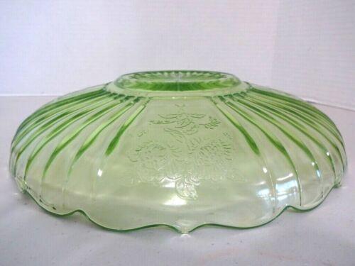 """Hocking Glass MAYFAIR """"Open Rose"""" Green Large Low Flat Fruit Bowl"""