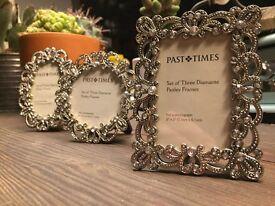 Ornate metal and diamanté small photo frames